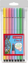 STABILO Pen 68 Viltstiften Pastelkleuren - Etui 8 stuks