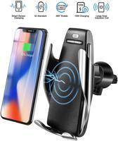 S5 autotelefoonhouder met automatisch beweegbare armen (auto-clamping) en QI wireless charger
