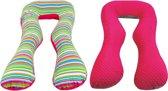 Voedingskussen / Zwangerschapskussens | U-vorm 300 cm | Roze en gekleurde strepen