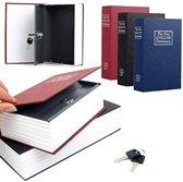 Geheime Boekkluis Geldkist - Woordenboek Kluis - Boekenkluis - Verborgen Kluis Boek Met Sleutelslot - Metaal - Rood