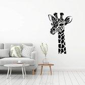 Muursticker Giraffe -  Geel -  69 x 120 cm  - Muursticker4Sale