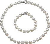 Zoetwater parel ketting set Big Round Pearl