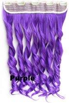 Clip in hair extensions 1 baan wavy paars - Purple