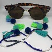 Zonnebrilkoord - Turquoise met kwastjes