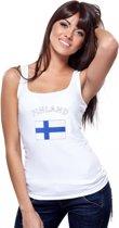 Witte dames tanktop met vlag van Finland S