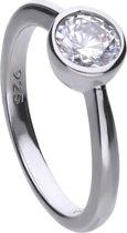 Diamonfire - Zilveren ring met steen Maat 19.5 - Steenmaat 6.25 mm - Kastzetting