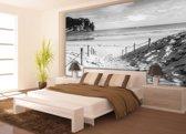 Fotobehang Papier Strand, Zee | Grijs | 254x184cm