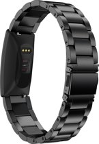 Metaal schakel bandje Zwart geschikt voor Fitbit Inspire of Inspire HR