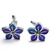 Manchetknopen - Bloem Paars en Blauw