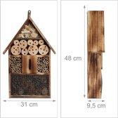 relaxdays insectenhotel 50 cm groot, bijenhhuis, ophangen, insectenhuis muur