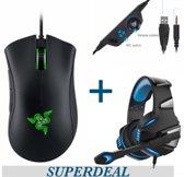 Razer Deathadder Essential Optische Gaming Muis Zwart plus Hunterspider Gaming Headset – Superdeals – Gaming Mouse – Gaming Headset – Ps2 - Windows