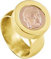 Quiges RVS Schroefsysteem Ring Goudkleurig Glans 17mm met Verwisselbare Rosé Boeddha 12mm Mini Munt