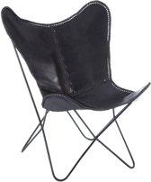J-Line Lounge stoel leder/met zw