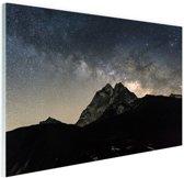 Melkweg over bergen Nepal Glas 120x80 cm - Foto print op Glas (Plexiglas wanddecoratie)