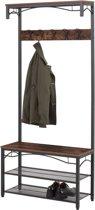 Staande Kapstok Met Zitplank en Schoenenrek - Landelijke Vintage Look - 80x32x178.5 cm - Zwart/Bruin