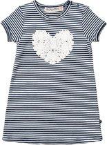 Minymo - jurk - model Kylie hart - gestreept blauw wit - Maat 86