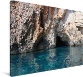 Blauwe grot in de Baai van Kotor in Montenegro Canvas 60x40 cm - Foto print op Canvas schilderij (Wanddecoratie woonkamer / slaapkamer)