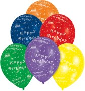 8 Latex Balloons Happy Birthday All Over Print 25.4 cm/10