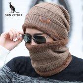 SanVitaleMCLichtBruin Trendy wollen Muts met Col-Sjaal Gebreide Beanie Muts gevoerde Warme Wintermuts
