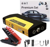 DrPhone LUX Noodgeval kit 12600 mAh - 12V Starterkit Auto / Motor - Startkabels - LED verlichting Zaklamp (rood/blauw/wit) - Powerbank Laptop / Smartphone / Tablet / Riemknipper / Noodhamer + Startkabel - Luxe Opbergtas