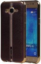 M-Cases Bruin Leder Design TPU back case hoesje voor Samsung Galaxy J5 2015