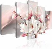 Schilderij - Magnolia in bloei , wit roze , 5 luik