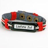 Leuk kado met naam armband leer - rood