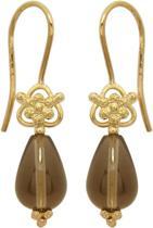 Blossom Copenhagen - Zilveren oorhangers Geelgoudverguld - Druppel van rookkwarts