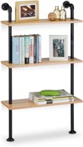 relaxdays boekenplank industrieel 3 etages - keukenrek retro - wandrek - vintage wandrek