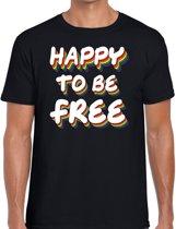 Happy to be free - gaypride t-shirt zwart 3D regenboog tekst voor heren - Gay pride kleding 2XL