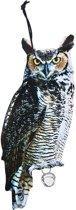 Vogelverschrikker Oehoe uil 40 cm - Tuindecoratie/tuinaccessoires vogelverschrikkers