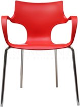 24Designs Stapelbare Stoel Jim - Armleuningen - Rood