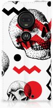 Motorola Moto G7 | G7 Plus Standcase Hoesje Design Skull Red
