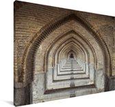 Foto van de bogen van de Khaju Bridge in Iran Canvas 60x40 cm - Foto print op Canvas schilderij (Wanddecoratie woonkamer / slaapkamer)