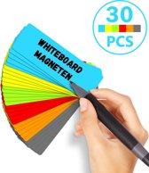 Scrum Whiteboard Magneten - 30 stuks - Agile Werken - Post Its Herschrijfbaar - 7,5 X 2,5 cm - 6 kleuren