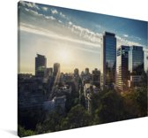 Zonsopkomst boven Santiago in Chili Canvas 60x40 cm - Foto print op Canvas schilderij (Wanddecoratie woonkamer / slaapkamer)