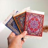 Invotis Perzisch tapijt onderzetters (set van 4) - rubber en stof - 13 x 9cm