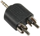 Plug 1 X Jack 3.5 mm naar 2 X Tulp / RCA adapter splitter