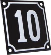 Emaille huisnummer zwart/wit nr. 10 10x10cm