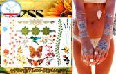 Plak Tattoos - Kleurrijke Metallic Tattoo's - Body Choker - Tijdelijke Tatoeage - Festival Tatoes - Zomer feest tatoeage's - Tattoo - 1 vel Lente