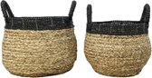 HSM Collection Mandenset - naturel/zwart - raffia - set van 2