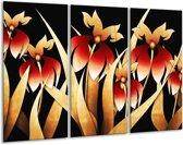 Canvas schilderij Bloem | Zwart, Rood, Wit | 120x80cm 3Luik