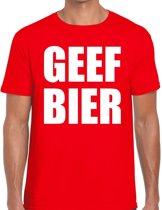 Geef Bier heren shirt rood - Heren feest t-shirts 2XL