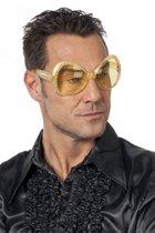 Gouden disco bril met diamanten