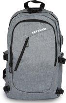 TravelMore Rugzak met 15.6 Inch Laptop Vak - 25.6 L Rugtas voor Mannen/Vrouwen - Waterdichte Anti-diefstal Backpack - Tas voor School/Werk/Reizen - Met USB - Grijs