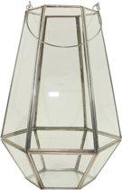 Glazen Lantaarn Zilverkleurig Medium