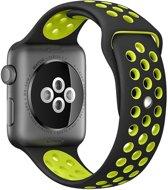 Apple Watch Siliconen Bandje Geschikt voor Apple Watch 1 / 2 / 3 / 4 / 5 - 38MM / 40MM   Zwart / Geel  Holed  Premium kwaliteit TrendParts