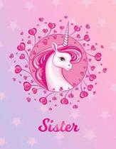 Sister: Unicorn Large Blank Primary Handwriting Learn to Write Practice Paper for Girls - Pink Purple Magical Horse Personaliz