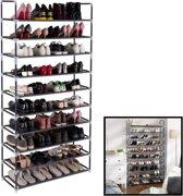 Schoenenrek XXL voor 50 paar schoenen - 10 etages - Organizer voor schoenen opbergen - Staand opbergrek - Schoenenkast zwart - Opbergsysteem van metaal met kunststof verbindingen - Zwart - Decopatent®