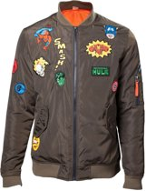 Marvel - Men's Green Bomber Jacket with Hero Patches